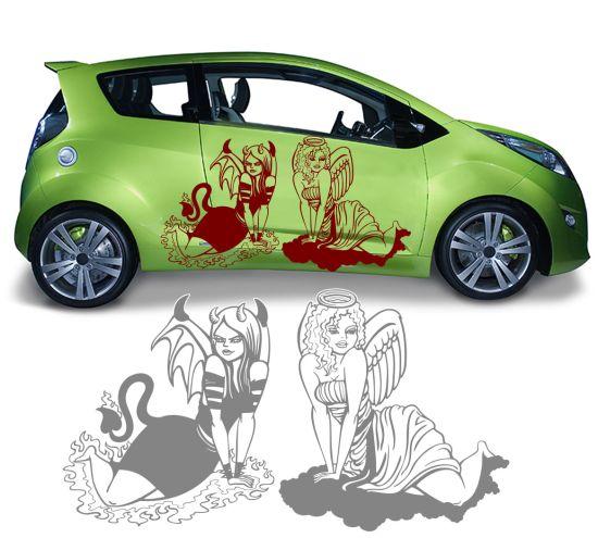 Autotattoo Autoaufkleber Engel + Teufel weiblich woman