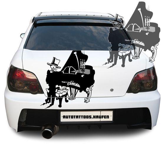 Autoaufkleber Autotattoo Skelett Klavier Flügel Skull