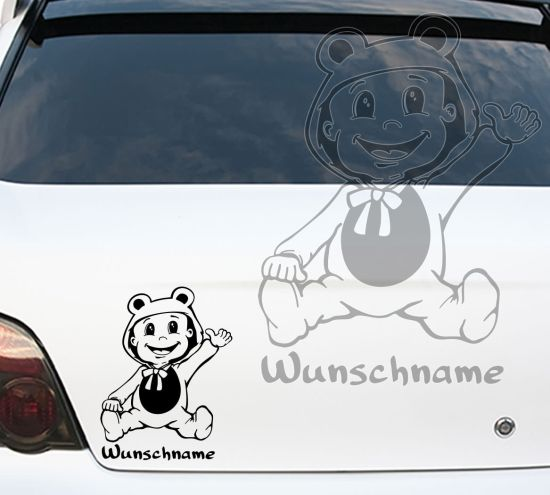 Autoaufkleber Autotattoo Baby on Board Kind an Bord Wunschname