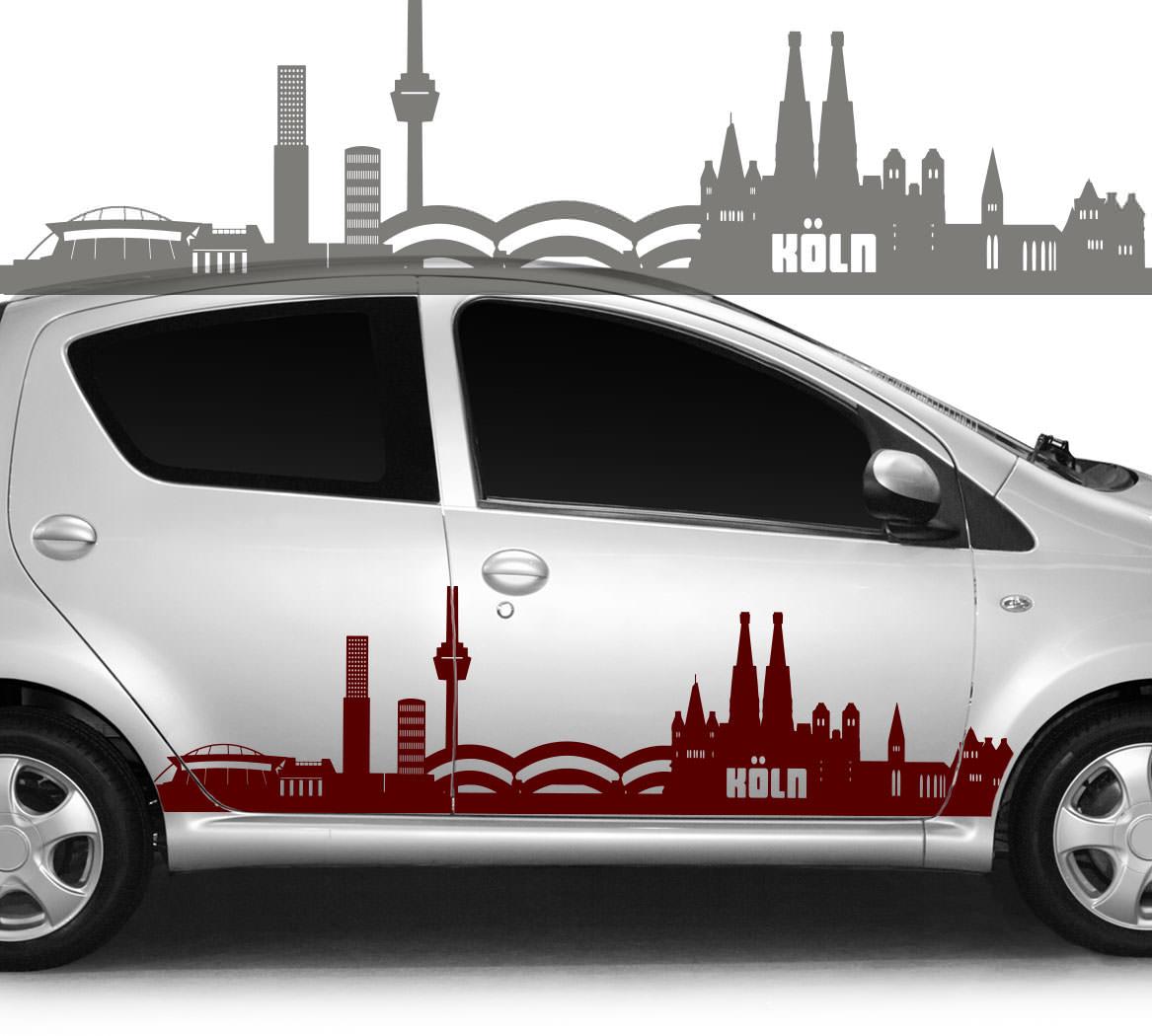 Autoaufkleber Autotattoo Skyline Stadt Köln