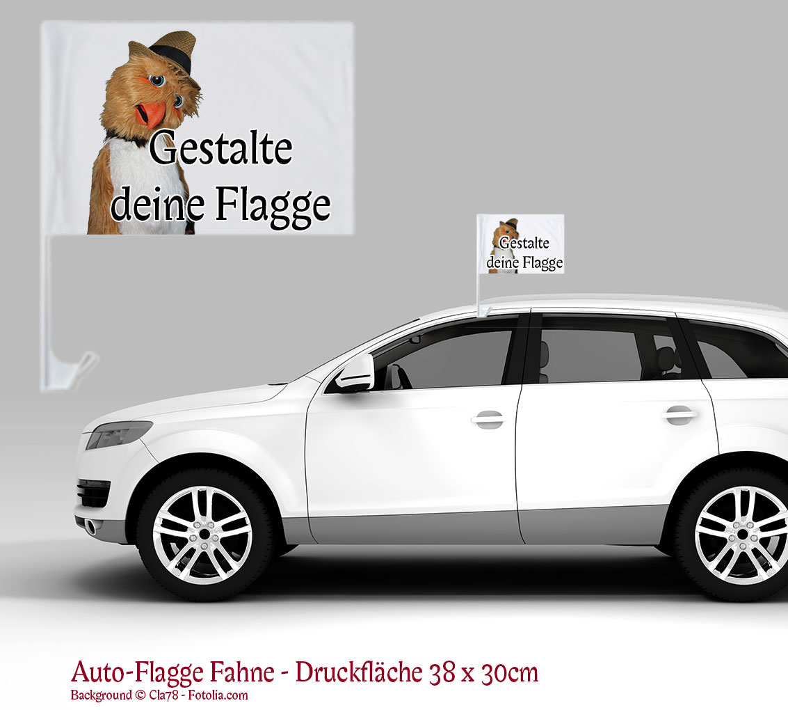 flagge fahne f r auto fenster mit eigener grafik oder foto text autoaufkleber shop. Black Bedroom Furniture Sets. Home Design Ideas